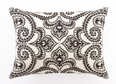 Amalfi Chocolate Embroidered Linen Pillow <font color=a8bb35> NEW</font>