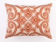 Amalfi Persimmon Embroidered Linen Pillow <font color=a8bb35> NEW</font>