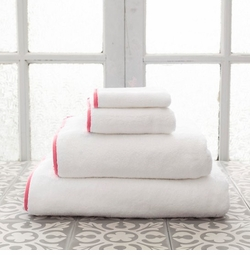Banded White/Coral Towels<font color=a8bb35> NEW </font>