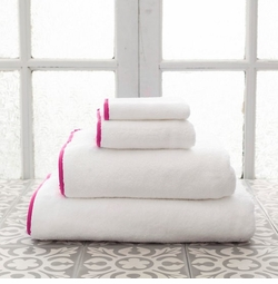 Banded White/Fuchsia Towels<font color=a8bb35> NEW </font>