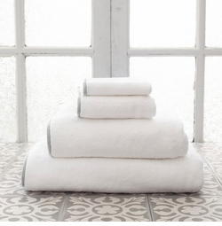 Banded White/Gray Towels<font color=a8bb35> NEW </font>
