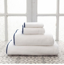 Banded White/Indigo Towels<font color=a8bb35> NEW </font>