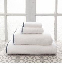 Banded White/Shale Towels<font color=a8bb35> NEW </font>