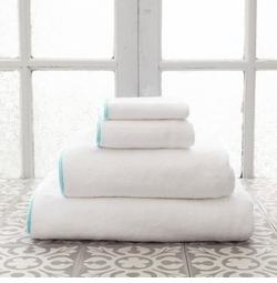 Banded White/Sky Blue Towels<font color=a8bb35> NEW </font>
