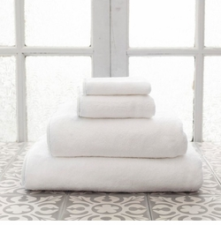 Banded White/White Towels<font color=a8bb35> NEW </font>