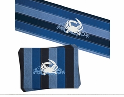 Beach Crab Table Runner and 4 Placemats <font color=a8bb35> NEW</font>