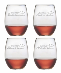 Beach Rules Stemless Wine Glasses Set of 4<font color=a8bb35> NEW</font>