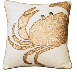 Beaded Crabby Glam Indoor Pillow<font color=a8bb35> NEW</font>