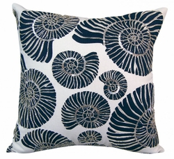 Beaded Nautilus Shell Indoor Pillow<font color=a8bb35> NEW</font>