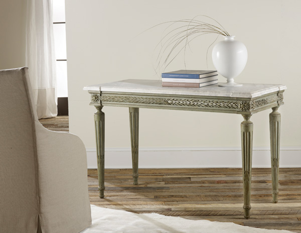 Carved and Painted Console with Marble Top