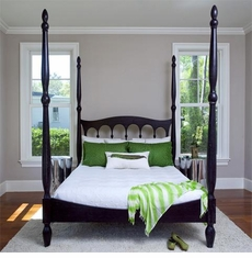 Castilla Bed in Black Satin<font color=a8bb35> NEW </font>