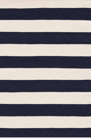 Dash and Albert Catamaran Stripe Navy and Ivory Rain or Shine