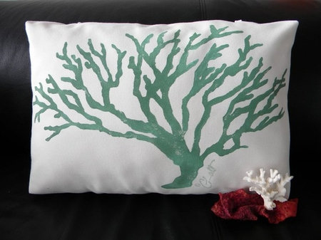 Celadon Coral Poolside Pillow