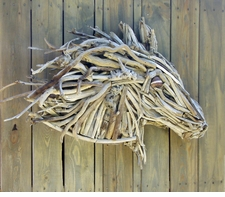 Chincoteague Wild Driftwood Horse<font color=a8bb35> NEW</font>