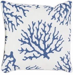 Coral Outdoor Pillow in Cobalt<font color=a8bb35> NEW</font>
