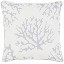 Coral Outdoor Pillow in  Light Gray <font color=a8bb35> NEW</font>