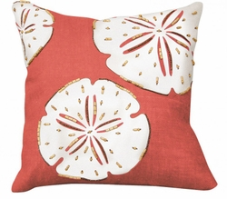 Coral Sand Dollar Beaded Indoor Pillow<font color=a8bb35> NEW</font>