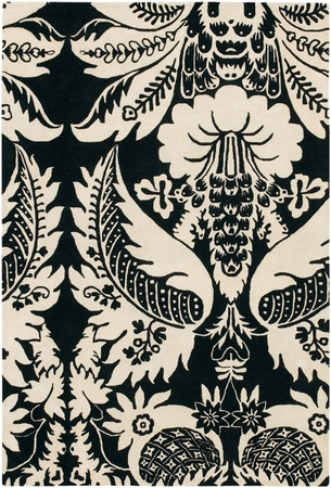 Damask in Ebony and Cream Rug