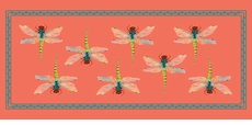 Dragonfly Pattern Table Runner <font color=a8bb35>NEW</font>