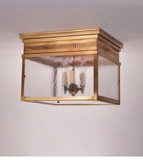 Elryan 3-Light Flush Mount Fixture with Seedy Marine Glass