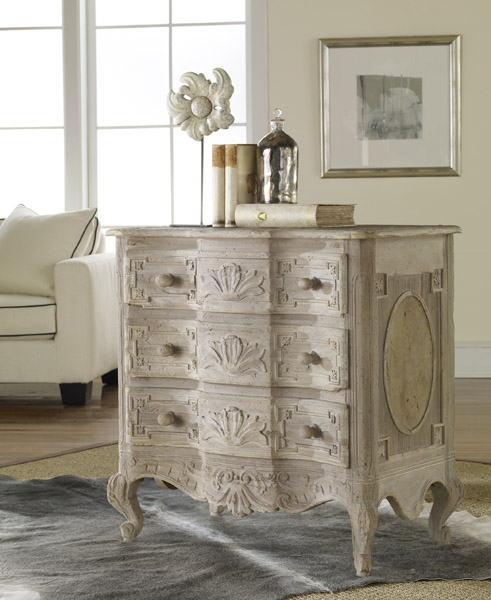 French Style Three Drawer Chest in Weathered Solids