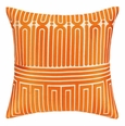 Garden Maze Orange Embroidered Pillow