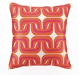 Geo Linen Pink and Orange Embroidered Pillow