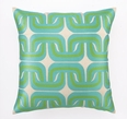 Geo Links Embroidered Pillow in Blue and Green
