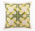 Geometric Tile Embroidered PIllow in Green/Yellow <font color=a8bb35> NEW</font>
