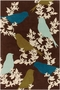 Goldfinch in Chocolate Aqua and Green Rug