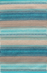 Dash And Albert Gypsy Stripe Woven Cotton Rug In Denim Yellow