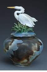 Heron Covered Jar