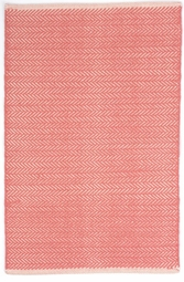 Herringbone Coral Woven Cotton Rug <font color=a8bb35> NEW</font>