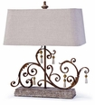 Horizontal Rusty Iron Scroll Table Lamp