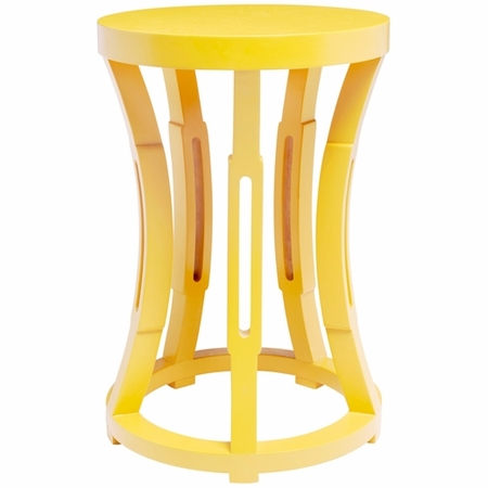 Hourglass Stool or Side Table in Yellow