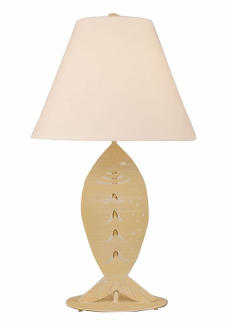 Iron Fish Table Lamp in Weathered Yellow Gold