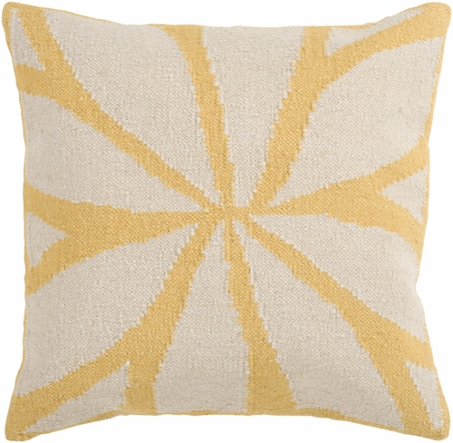 Ivory and Yellow Star Pillow