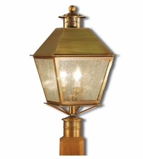 Jamestown 3-Light Post Lantern with Seedy Marine Glass