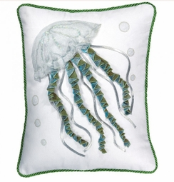 Jellyfish Indoor Pillow in White<font color=a8bb35> NEW</font>