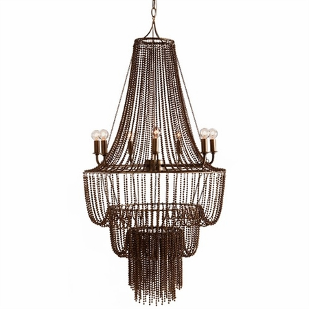 Key Largo Seven Light Iron Beaded Chandelier