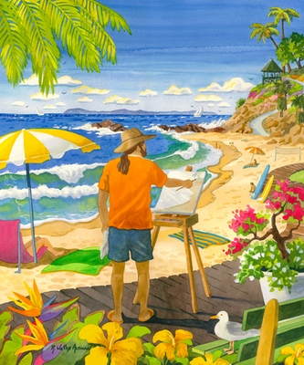 Laguna Painter at Main Beach Giclee