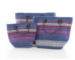 Le Tote Fiesta Stripe Blue/Red In Three Sizes<font color=a8bb35> NEW</font>