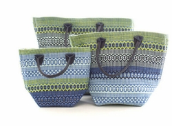 Le Tote Fiesta Stripe French Blue/Green In Three Sizes<font color=a8bb35> NEW</font>