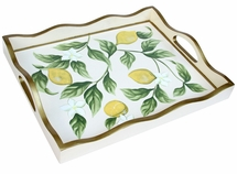 Lemons with Leaves Tray