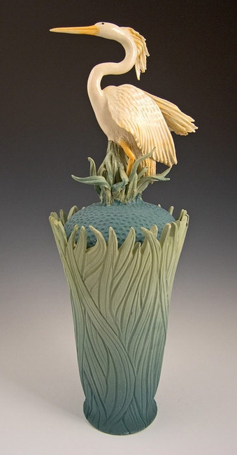 Limited Edition Heron Covered Vase