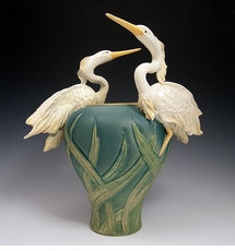 Limited Edition Two Flying Herons Vase