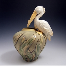 Ceramic Limited Edition White Pelican Vase