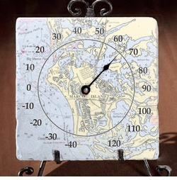 Marble Thermometer with Easel - Customize Your Location<font color=a8bb35> NEW</font>