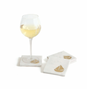 Marble Schooner Coasters Set of Four<font color=a8bb35> NEW</font>