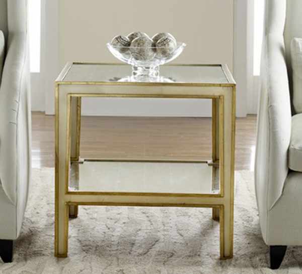 Mirrored End Table - Cream with Gold Accents